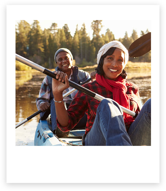 Couple kayaking together