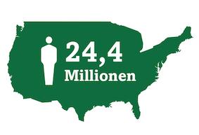 Karte der 24,4 Mio. Amerikaner, die derzeit an Grauem Star leiden