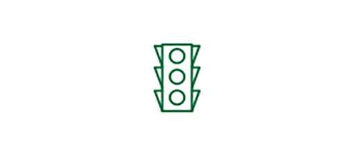 Traffic light icon indicating improved distance vision with TECNIS® Multifocal IOL